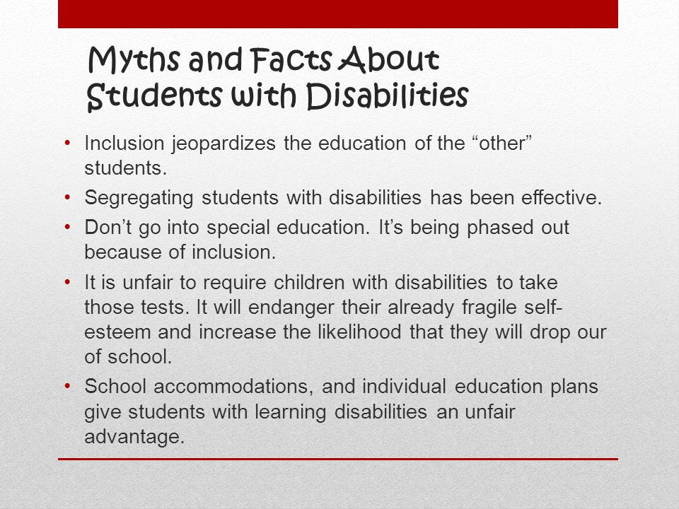 Myths and Facts About Students with Disabilities