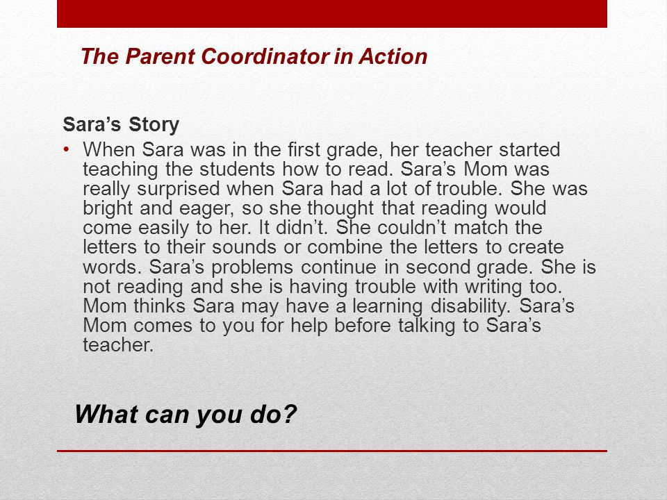 What can you do The Parent Coordinator in Action Sara's Story
