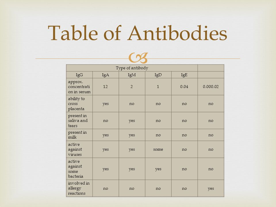 Table of Antibodies Type of antibody IgG IgA IgM IgD IgE