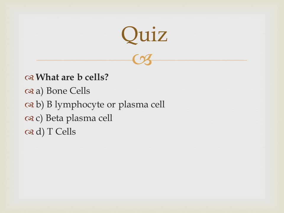 Quiz What are b cells a) Bone Cells b) B lymphocyte or plasma cell