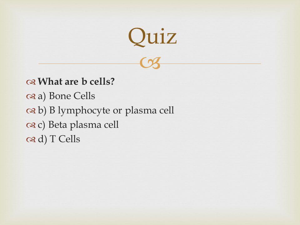 Quiz What are b cells a) Bone Cells b) B lymphocyte or plasma cell