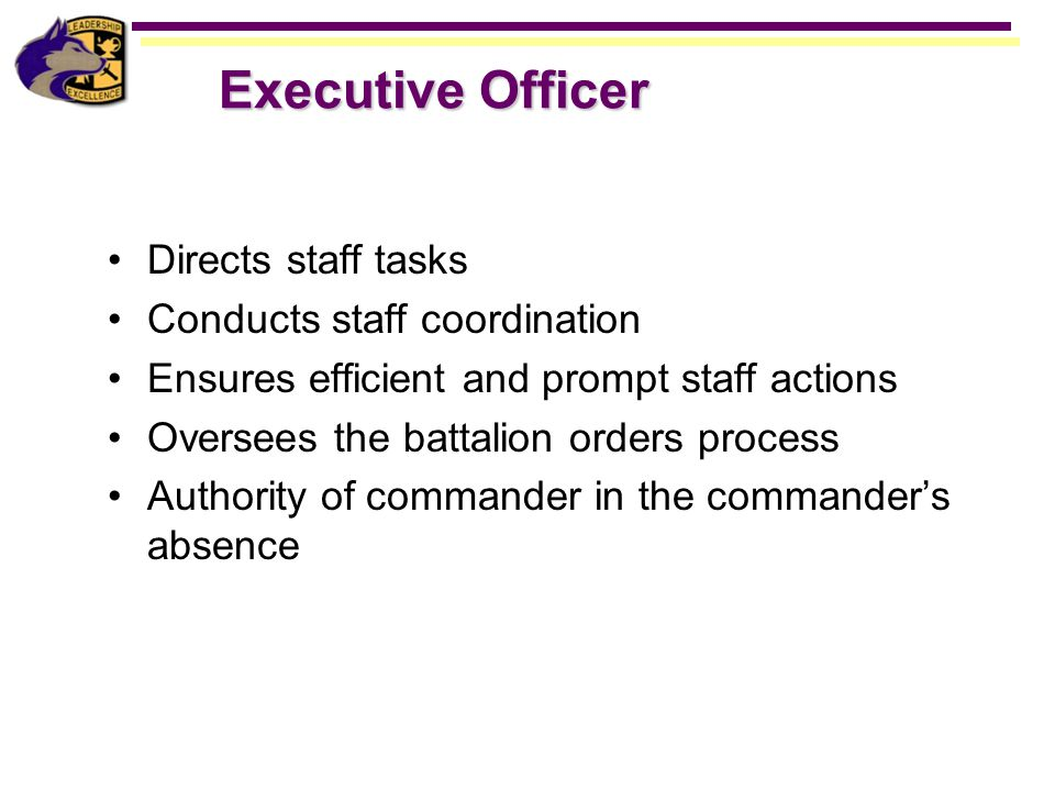 Executive Officer Directs staff tasks Conducts staff coordination