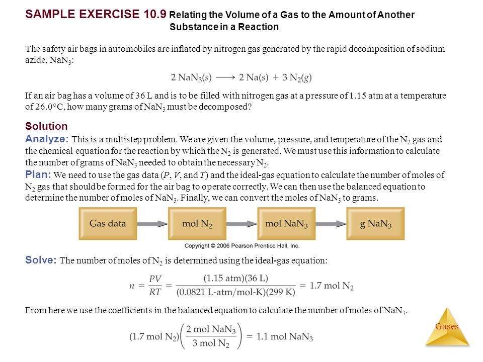SAMPLE EXERCISE 10.9 Relating the Volume of a Gas to the Amount of Another Substance in a Reaction