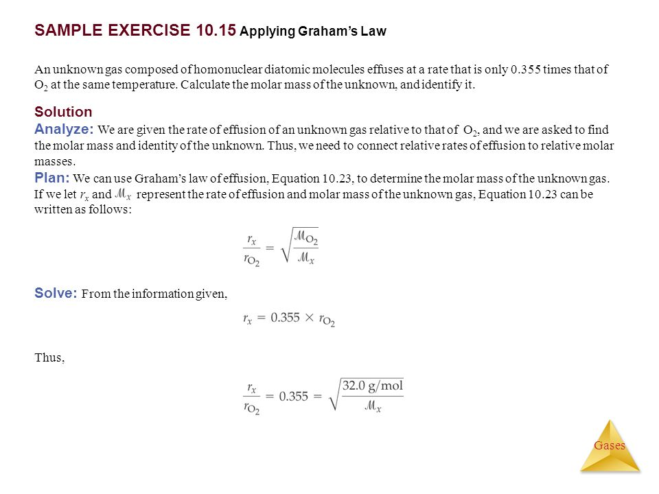 SAMPLE EXERCISE 10.15 Applying Graham's Law