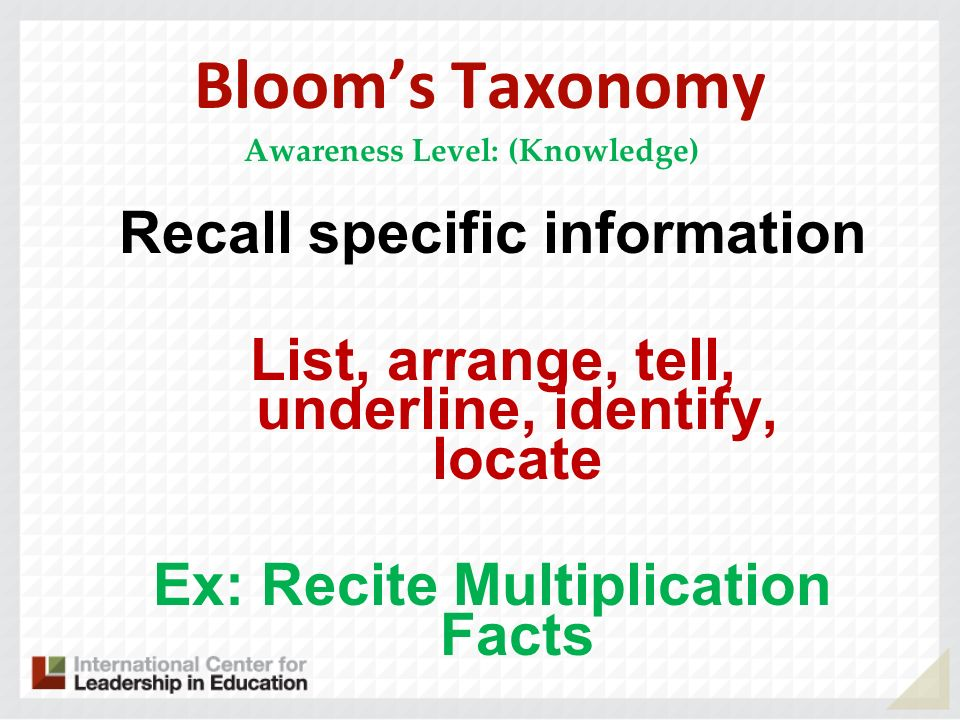 Bloom's Taxonomy Recall specific information