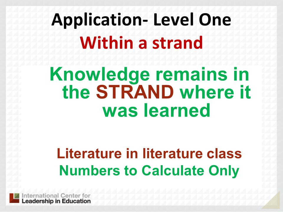 Application- Level One Within a strand