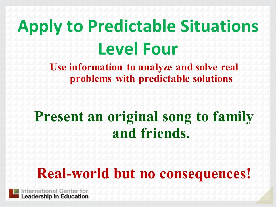 Apply to Predictable Situations Level Four