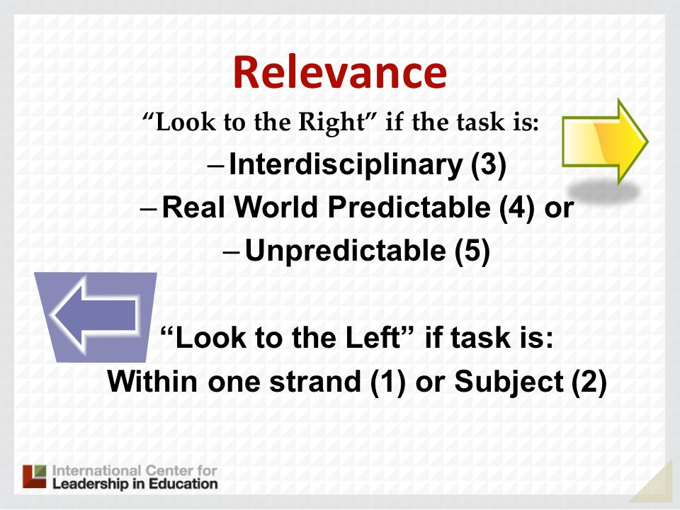 Relevance Interdisciplinary (3) Real World Predictable (4) or