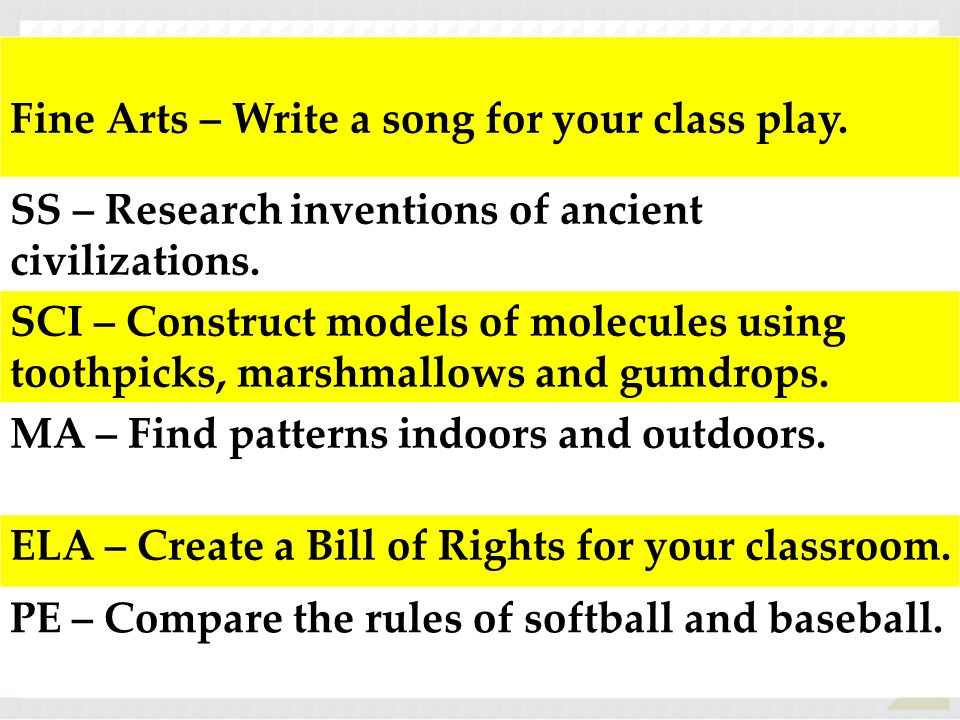 Fine Arts – Write a song for your class play.