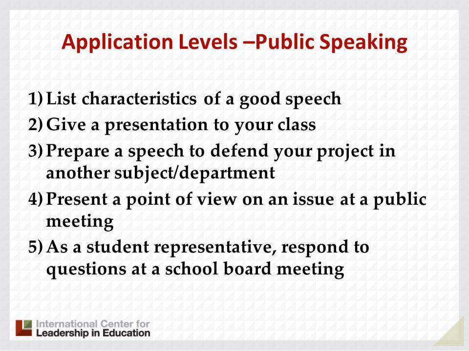 Application Levels –Public Speaking
