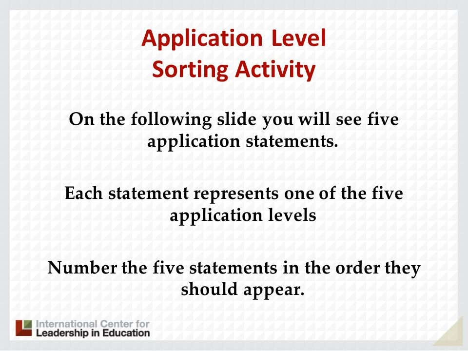 Application Level Sorting Activity