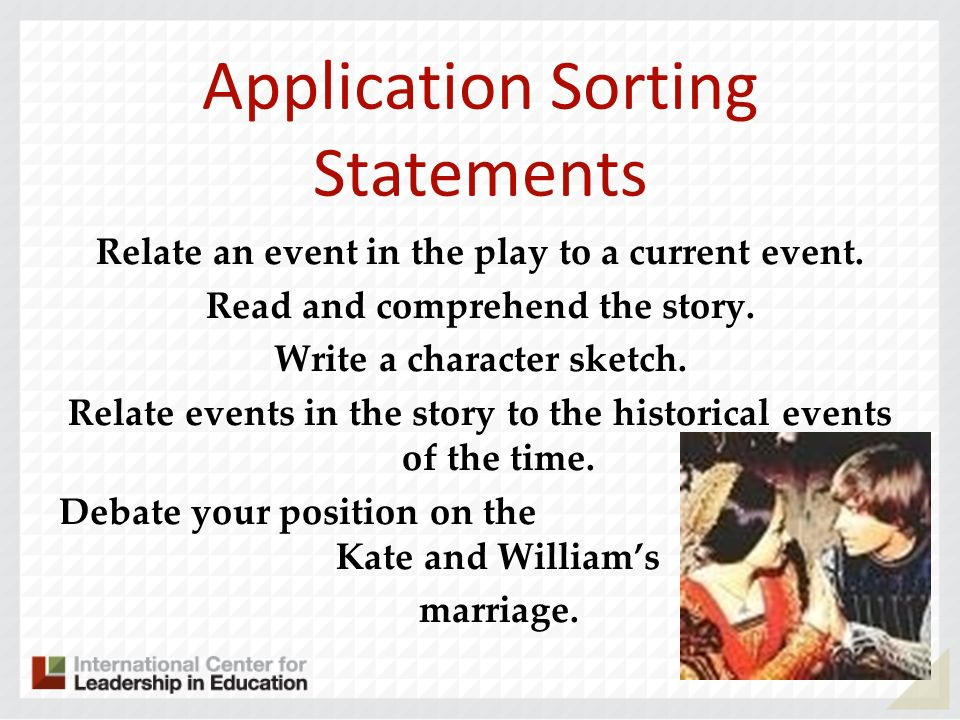 Application Sorting Statements
