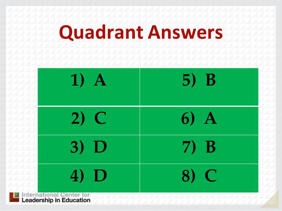 Quadrant Answers 1) A B C A D 8) C