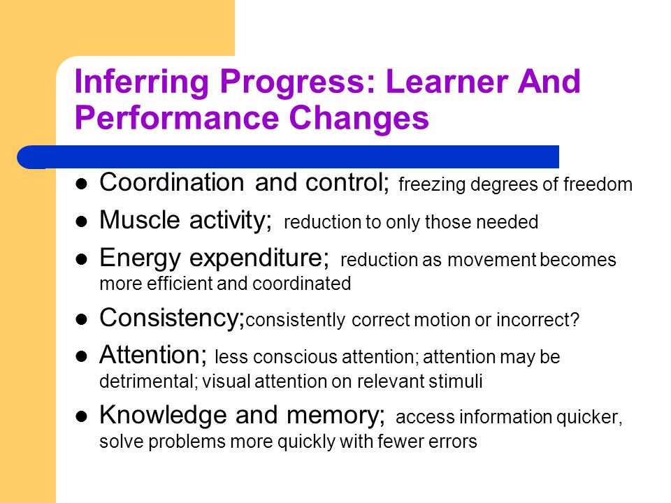 Inferring Progress: Learner And Performance Changes