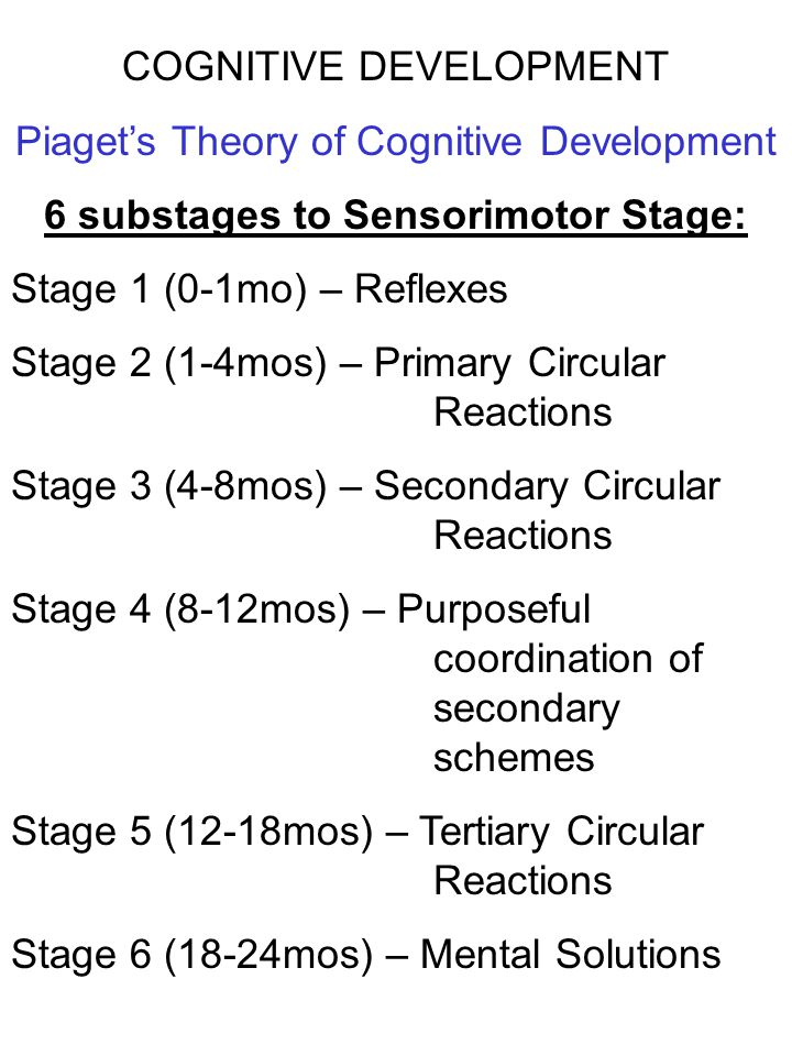 6 substages to Sensorimotor Stage: