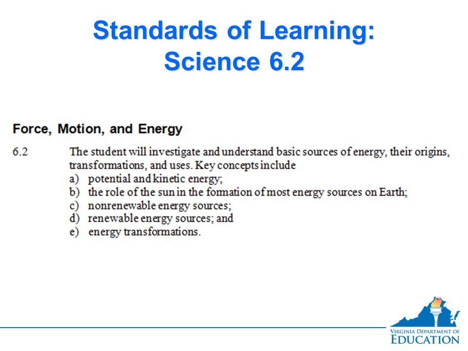 Standards of Learning: Science 6.2