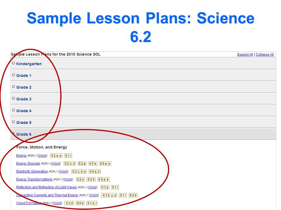 Sample Lesson Plans: Science 6.2
