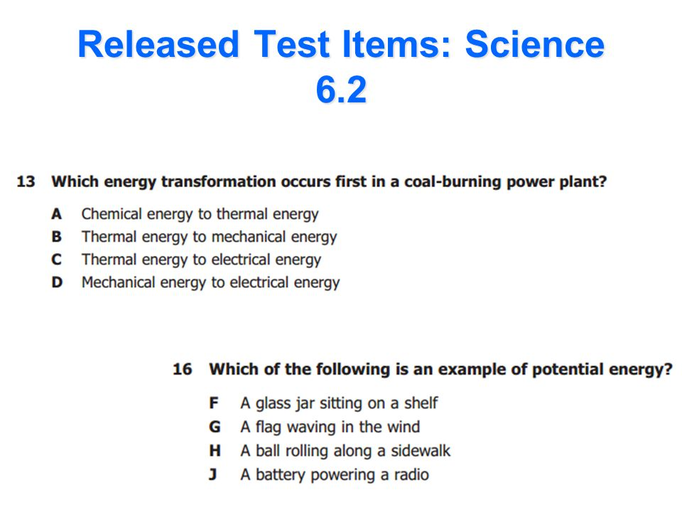 Released Test Items: Science 6.2