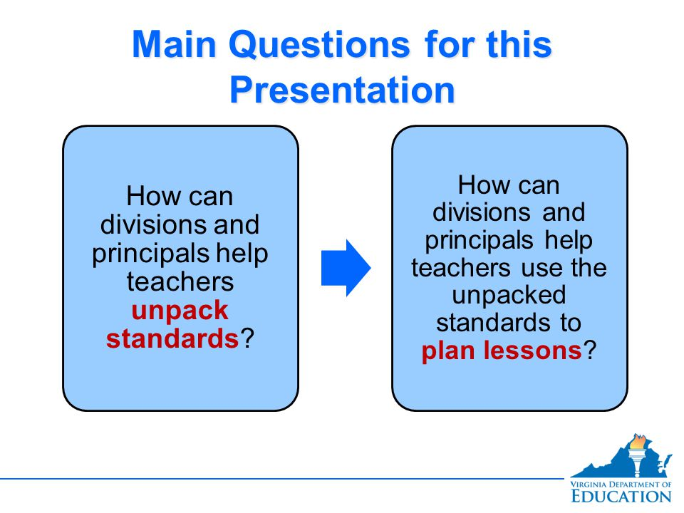Main Questions for this Presentation