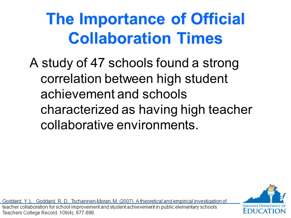 The Importance of Official Collaboration Times