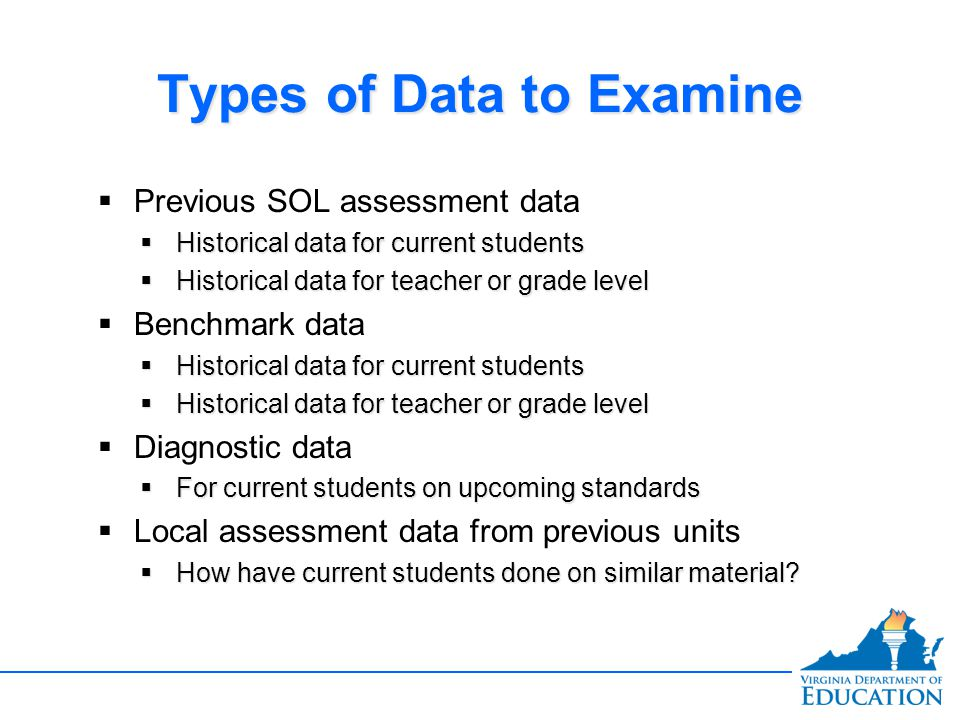 Types of Data to Examine