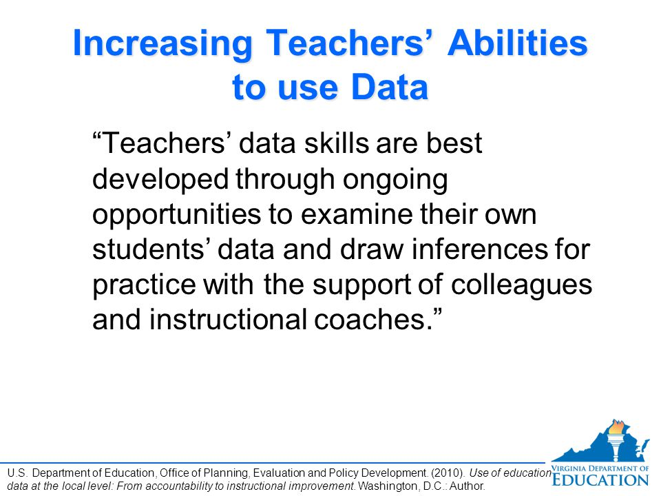 Increasing Teachers' Abilities to use Data