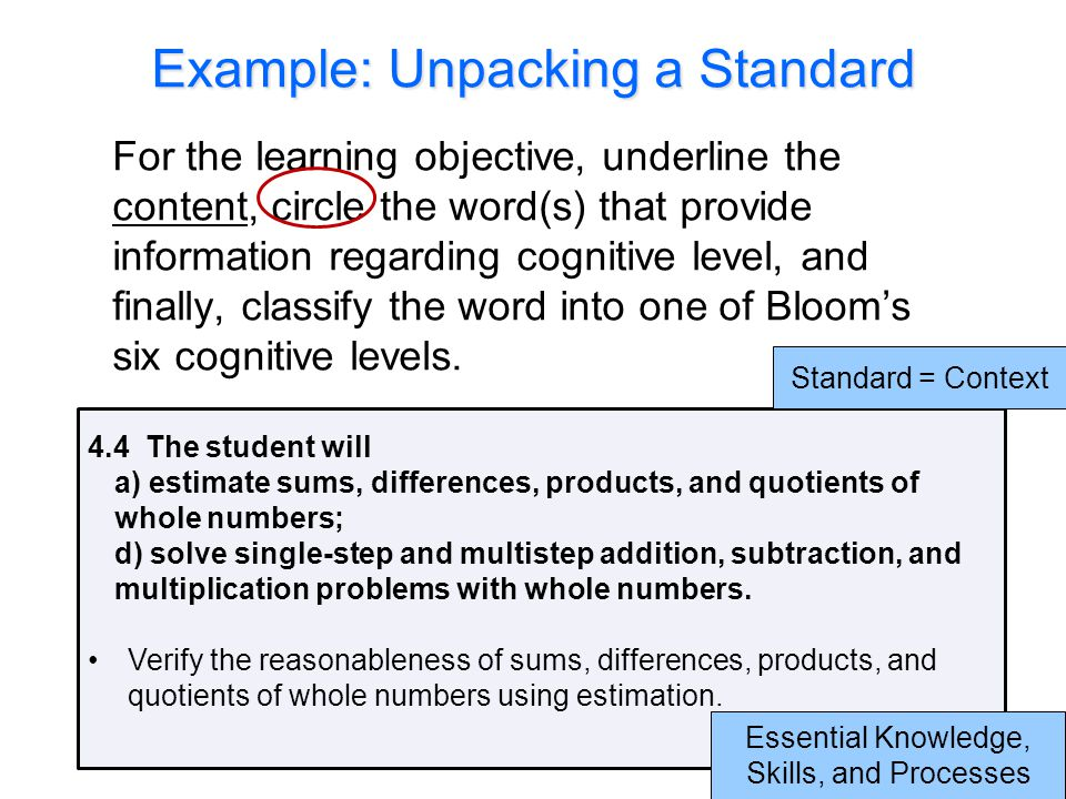 Example: Unpacking a Standard