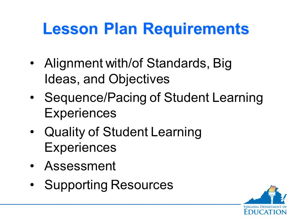 Lesson Plan Requirements