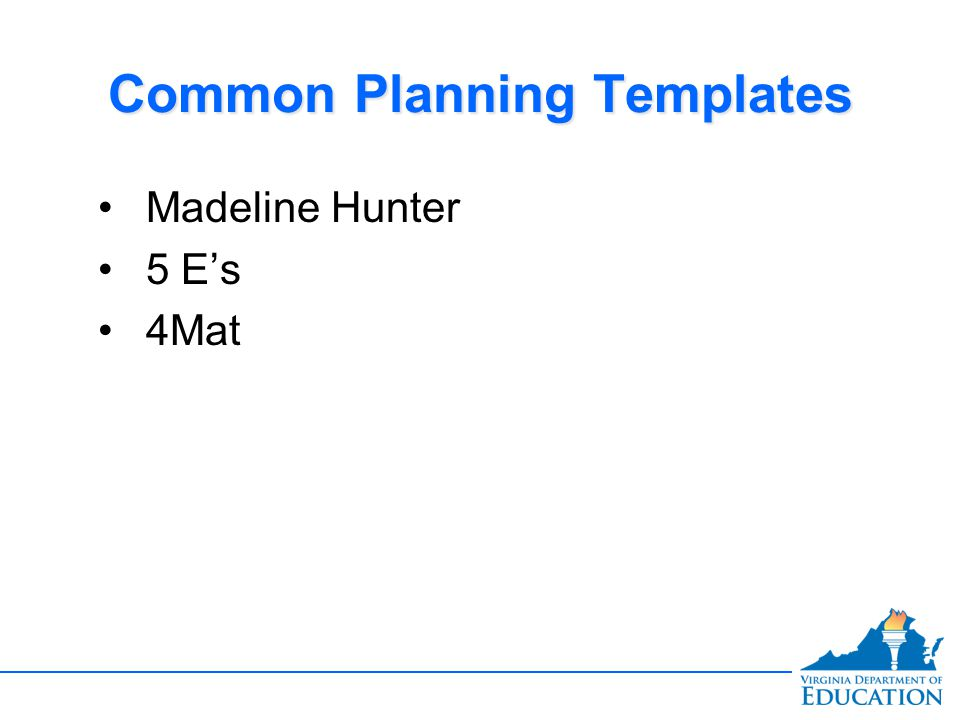Common Planning Templates