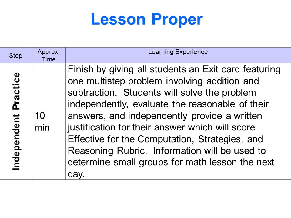 Lesson Proper Step. Approx. Time. Learning Experience. Independent Practice. 10 min.