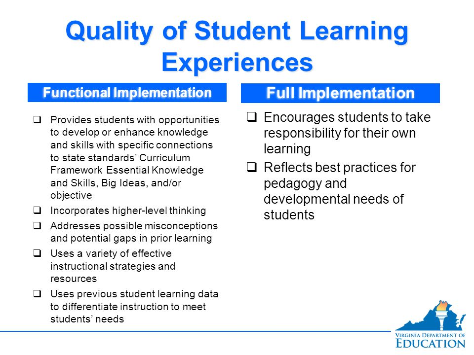 Quality of Student Learning Experiences