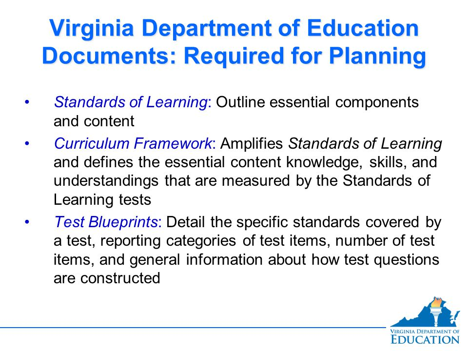 Virginia Department of Education Documents: Required for Planning