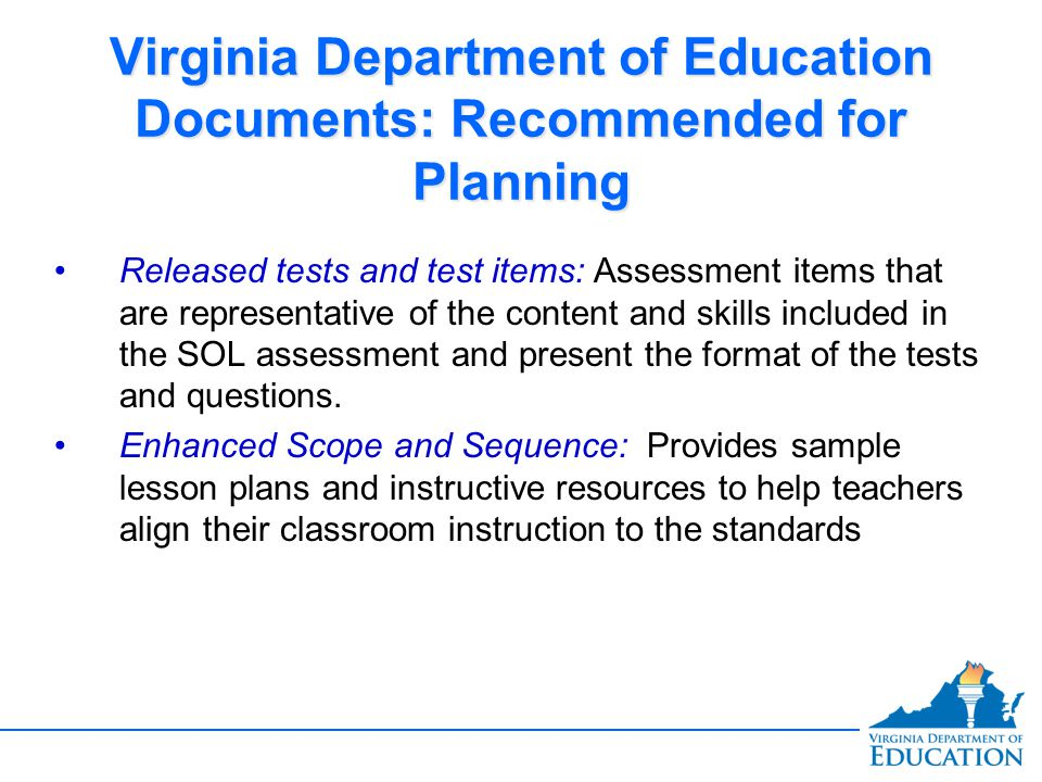 Virginia Department of Education Documents: Recommended for Planning