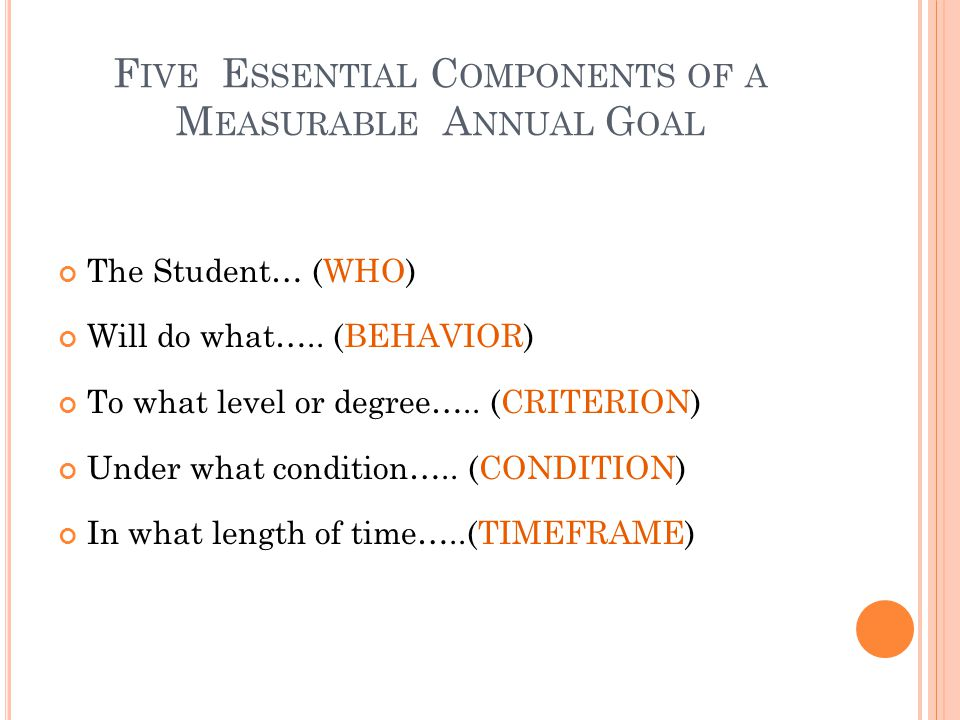 Five Essential Components of a Measurable Annual Goal