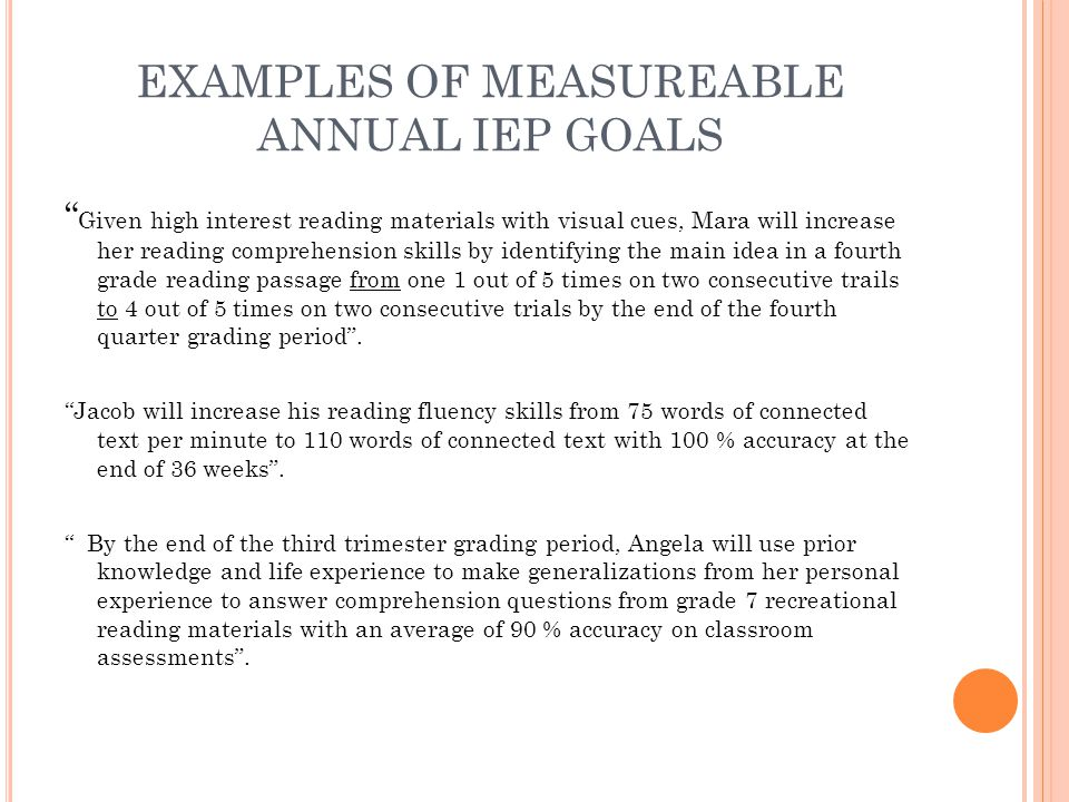 EXAMPLES OF MEASUREABLE ANNUAL IEP GOALS