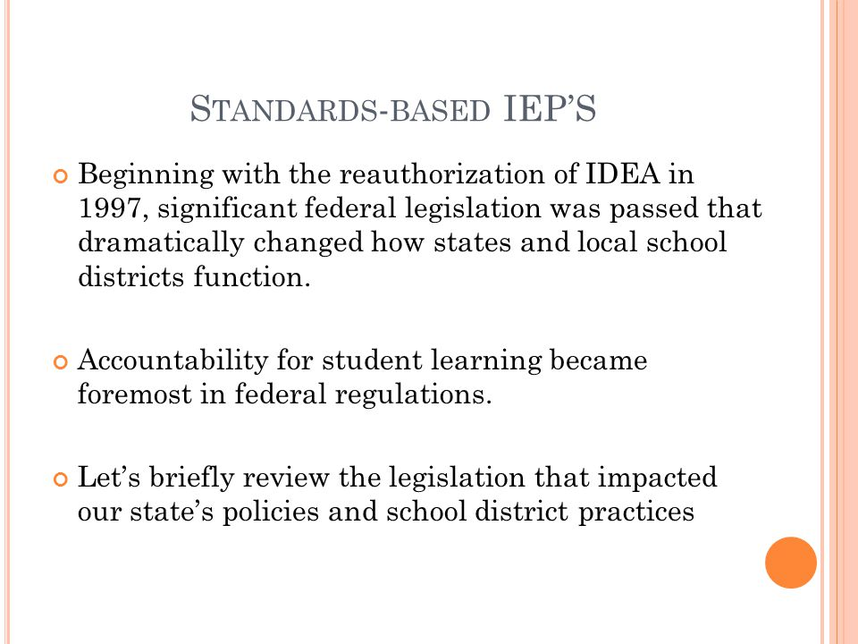 Standards-based IEP'S