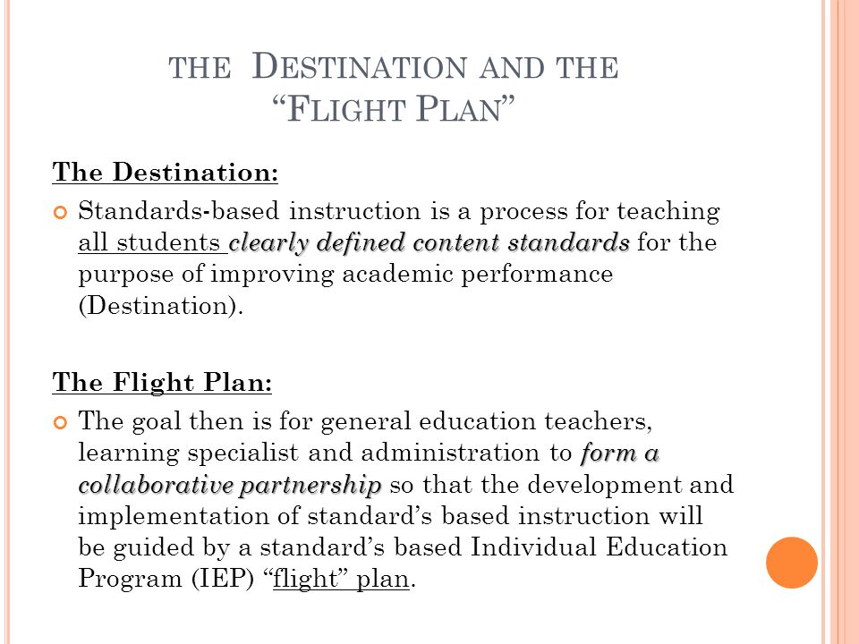 the Destination and the Flight Plan