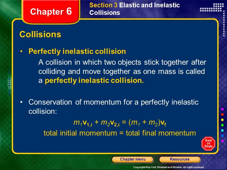 total initial momentum = total final momentum