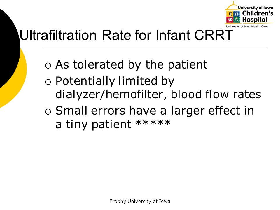 Ultrafiltration Rate for Infant CRRT