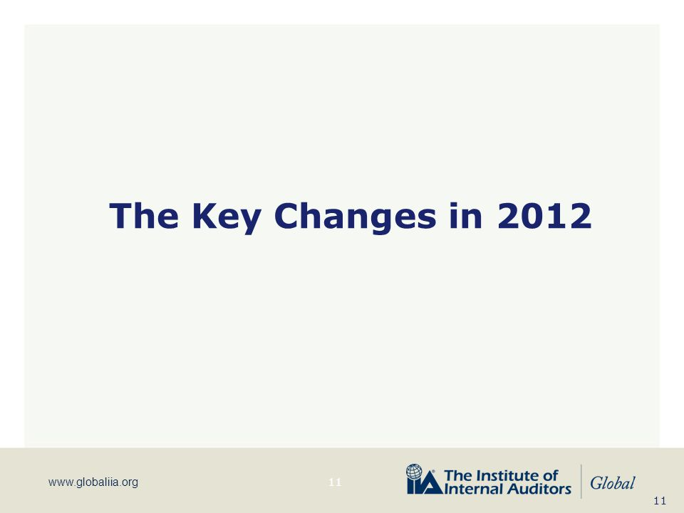 The Key Changes in 2012 KW 11 11