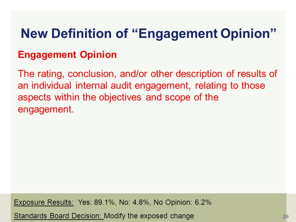 New Definition of Engagement Opinion