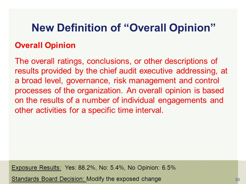 New Definition of Overall Opinion