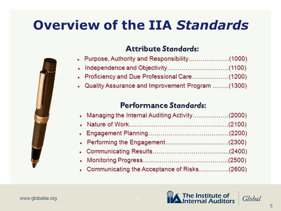 Overview of the IIA Standards Performance Standards: