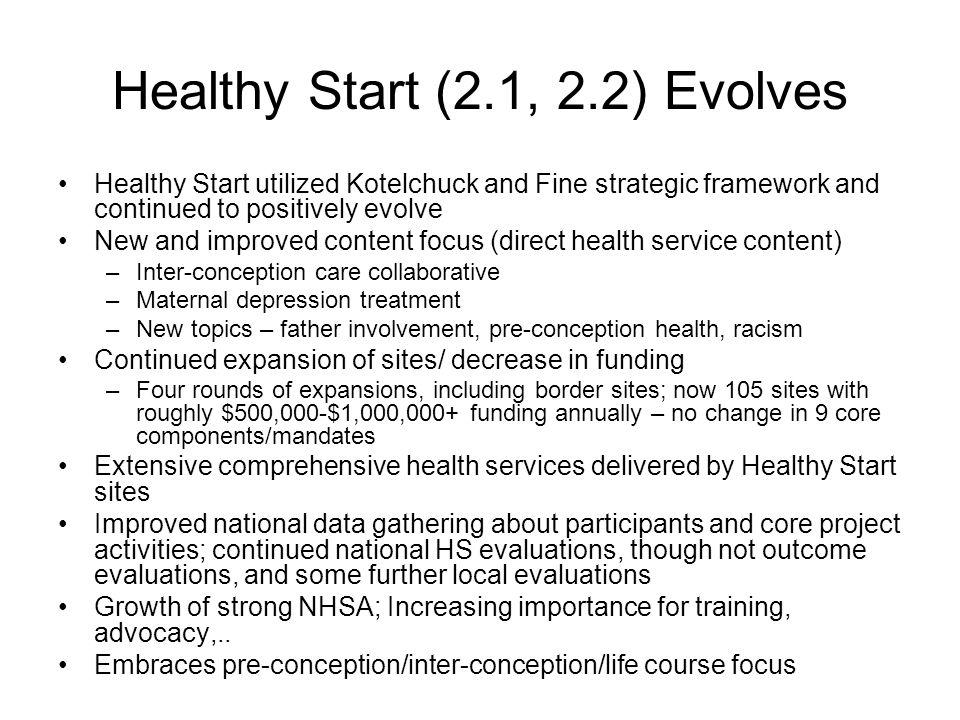 Healthy Start (2.1, 2.2) Evolves