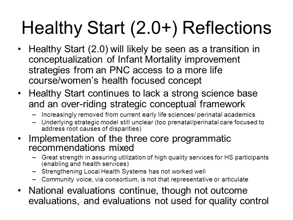 Healthy Start (2.0+) Reflections