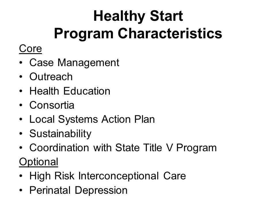 Healthy Start Program Characteristics