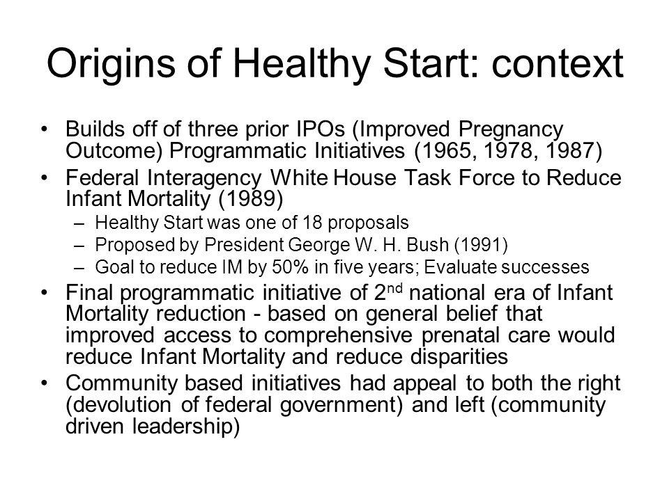 Origins of Healthy Start: context
