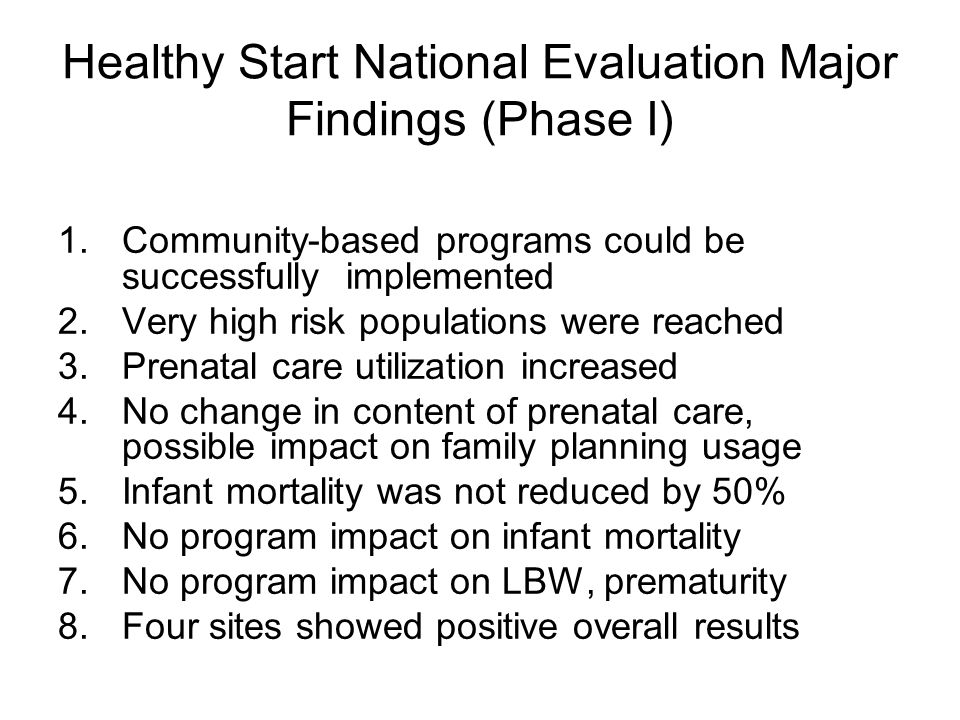 Healthy Start National Evaluation Major Findings (Phase I)
