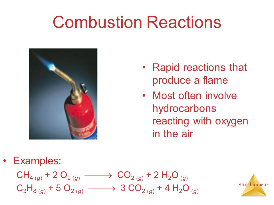 Combustion Reactions Rapid reactions that produce a flame