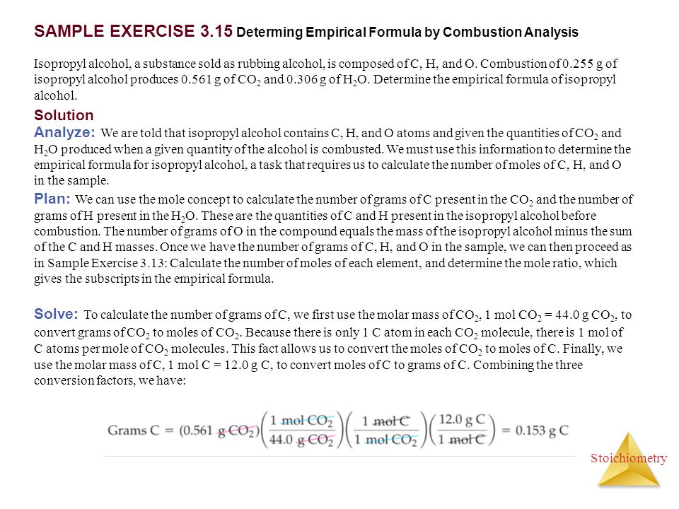 SAMPLE EXERCISE 3.15 Determing Empirical Formula by Combustion Analysis
